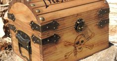 Pyrography Treasure Chest Small Wood Burned with Gold by KnottySis, $50.00
