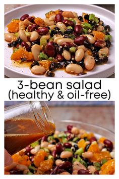 Orange sesame 3-bean salad is a flavorful blend of sweet oranges, a citrus-soy dressing, and nutty sesame seeds to create a colorful, healthy, oil-free feast. Satisfaction guaranteed. 3 Bean Salad, Vegetarian Recipes, Healthy Recipes, Plant Based Breakfast, How To Cook Beans, Plant Based Eating, Healthy Protein, Side Salad, Low Calorie Recipes
