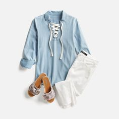Love this outfit, definitely need white pants and denim jacket/top in my price range