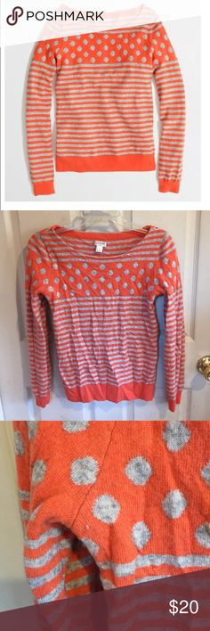 """J. Crew Factory Warmspun Instarsia Sweater Tangerine and grey stripe/dot sweater from Factory. Viscose/nylon/merino wool. This has been worn and loved and has fuzzing. Bust is about 17"""" flat and length is about 23"""". J. Crew Sweaters"""