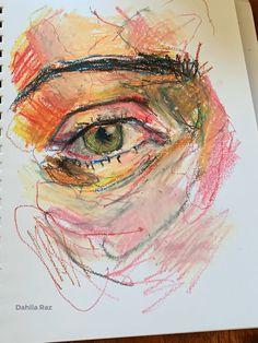 Oil pastel : By Dahlia Raz Abstract Art Painting, Art Painting, Art Drawings, Pastel Drawing, Oil Pastel Drawings, Pastel Painting, Pastel Portraits, Oil Pastel Art, Eye Painting