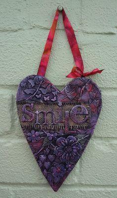 Mixed Media heart shaped Smile hanging by LindsayMasondesigns, £11.00