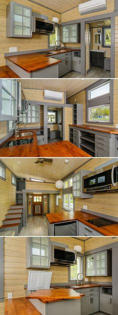 The Squibb is a 10' x 30' custom tiny house with a kitchen that includes abundant cabinets and drawers, an electric cooktop, and a freezer hidden under the counter.