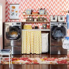 Who wouldn't want to do laundry in this stylish space? More laundry room ideas:  http://www.bhg.com/rooms/laundry-room/makeovers/laundry-room-ideas/?socsrc=bhgpin111013launderinstyle&page=1