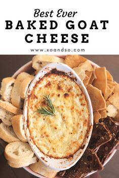 Baked Goat Cheese This baked goat cheese dip is the perfect party appetizer!This baked goat cheese dip is the perfect party appetizer! Baked Goat Cheese, Goat Cheese Recipes, Goat Cheese Dips, Appetizers With Goat Cheese, Food With Cheese, Cheese And Crackers, Whipped Goat Cheese, Goat Recipes, Gourmet Cheese