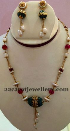 Jewellery Designs: Gemstone Necklace with Pretty Earrings