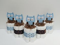 Owl Diaper Cakes Set Of Five Blue And Brown by LanasDiaperCakeShop, $39.99