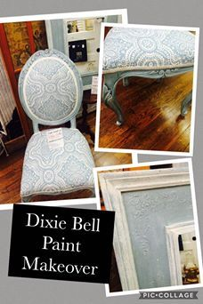 'LaDon made over a old (not so pretty) chair into something wonderful. She used Dixie Belle Paint products. Stormy Seas, Vintage Duck Egg, and washed with Silver Metallic.  Mirror was stenciled with Swamp Mud for a 3D effect