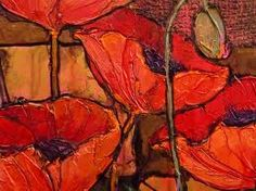poppies - impressionist oil painting , poppies close up modern art