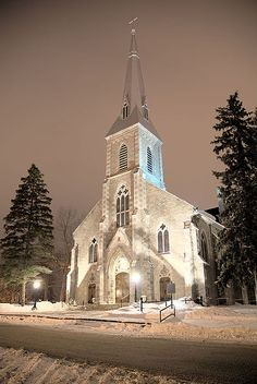 Peterborough, Ontario Catholic Diocese Church, the Cathedral of Winter at St. Peter-In-Chains, one of the oldest remaining Catholic churches. Looks like a Putz church - hardly looks real - how lovely! Church Architecture, Beautiful Architecture, Beautiful Buildings, Beautiful Places, Old Country Churches, Old Churches, Catholic Churches, Catholic Diocese, Irish Catholic