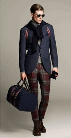 I love this Hackett A/W 12 - plaid with boots, detailed jacket