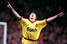 ♠ English Football's Greatest Rivalry LFC vs Man Utd in pictures - Michael Owen enjoys his first goal against United after storming past Gary Pallister #LFC #History