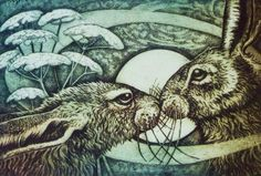 """'Hare Love II' (100) by Louise Scott based in Glasgow. Original copper plate etching. Hand coloured. 4x6"""" £98"""