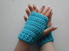 Debbie Wristlets in Turqua Light Blue / Turquoise / Bright Sky / Dazzling - Hand Warmers Fingerless Gloves - Ready to Ship FREE US Shipping by LilacsLovables on Etsy, $15.00
