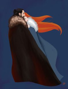 Jon x Sansa, done a la Mary Blair using Kyle T. Webster's Gouache brushes for Photoshop