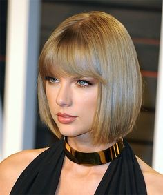 Taylor swift medium straight formal bob hairstyle with blunt cut view and try on this taylor swift medium straight formal bob hairstyle dark blonde voltagebd Image collections