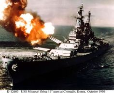 Only five years after WWII, America was fighting another war, this time in Korea. This 1950 photo shows the USS Missouri bombarding North Korea's coastline in order to cut enemy communications.