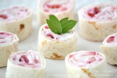 Strawberries and Cream Pinwheels Ingredients 8oz package cream cheese (light or regular) 1 cup fresh strawberries, diced Pinch of cinnamon 4-5 flour tortillas Directions In a medium bowl combine cream cheese and strawberries and stir until blended. Spread cream cheese mixture on each tortilla and tightly wrap each up. Wrap in plastic wrap and place in refrigerator for several hours until set. Using a sharp knife Cut slices and serve cold.