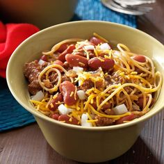 Cincinnati-Style Chili Recipe -My husband had this type of chili when visiting a friend in Ohio and was super- thrilled when I made it at home. Our favorite way to serve it is five-way with spaghetti, cheese, onions and beans. —Tari Ambler, Shorewood, Illinois