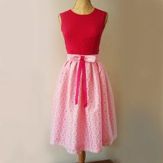 pale pink lace bow skirt by MyVintageStudio on Etsy, £45.00