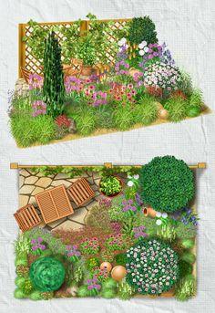 Mit einem mediterranen Garten holen Sie sich ein Stück südlichen Flair nach Hause. Für die Pflanzen wichtig ist dabei eine sonniger Lage. Dann lädt auch ein kleiner Sitzplatz aus polygonalen Natursteinplatten zum Sonnenbad ein. Mediterrane Kräuter wie Lavendel, Salbei, Rosmarin und Thymian verströmen die Düfte der Provence. Die Blüten des Kugellauchs, der Fackellilie und weiterer Stauden sorgen für kontrastreiche Blühaspekte. Als Strukturgeber darf natürlich eine Säulenzypresse nicht fehlen.
