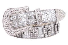 Western Rhinestone Cross Ornaments Croco Print Leather Belt Size: L/XL - 39 Color: Silver Made by #beltiscool Color #Silver. Cross Rhinestone parts detailing. Snap on removable buckle. Tiny metal ball chain. Nickel hardware. Western rhinestone buckle set