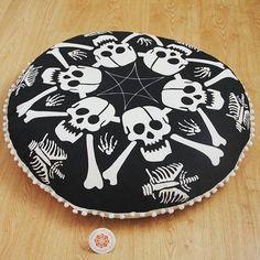 Skull floor cushion  Check our bio for link  #skull #decor #boho #vibes