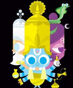Learn about Sanjay Patel, the mastermind illustrator behind Ghee Happy and learn about indian deities. Indian Illustration, Cute Illustration, Rio Grande Rs, Indiana, Krishna Art, Baby Krishna, Cartoon Sketches, Hindu Deities, Hindu Art