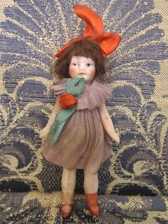 Little Matchbox Mary ! Vintage Bisque Doll Rare Antique ALL Bisque by thevintagearcade, $160.00