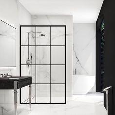 Modern monochrome bathroom designs for showering in style Modern Monochrome Bathroom Ideas: Black & White Bathroom Inspiration Boho Bathroom, Bathroom Trends, Small Bathroom, Basement Bathroom, Marbel Bathroom, Bathroom No Window, Tropical Bathroom, Ensuite Bathrooms, Bathroom Showers