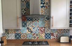 Patchwork Encaustic Tiles Moroccan tiles Cement tiles on kitchen wall Morrocan Tiles Kitchen, Moroccan Tiles Uk, Kitchen Wall Tiles, Kitchen Flooring, Colourful Kitchen Tiles, Moroccan Tile Backsplash, Patterned Kitchen Tiles, Splashback Tiles, Moroccan Lanterns
