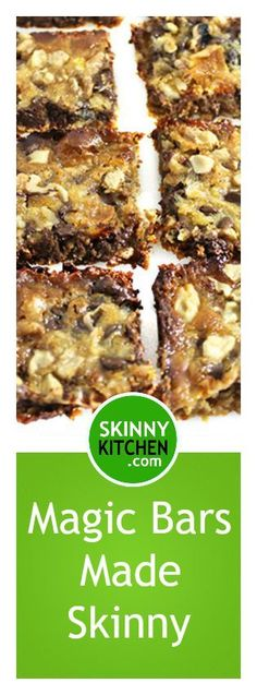 Dreamy Magical Bars Made Skinny. Only 6 ingredients layered right in the pan! Each bar has 133 calories, 6g fat & 6 SmartPoints #magicbars #desserts http://www.skinnykitchen.com/recipes/magical-bars/