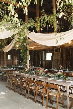 barn wedding decor - http://ruffledblog.com/tennessee-garden-wedding-with-a-green-bridal-skirt
