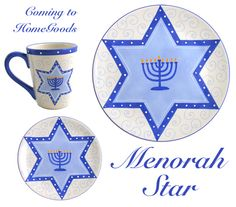 Get the Menorah Star collection, with all of its lovely swirls and shades of blue, at HomeGoods (contact your local HomeGoods for availability).
