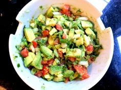 Ingredients: 2 ripe (but still firm) avocados diced 1 tomato diced 1 jalepeno pepper 3 sprigs of fresh cilantro chopped 1 small onion or 1/2 a medium onion diced  juice of 1 lime himalayan pink sea...
