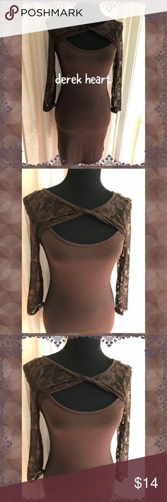 """Chocolate Delight"" NWT DRESS Cute and sexy hot chocolate dress by Derek Heart. Lace sleeves. Eye catching twisted lace front. Too cute! Hugs in all the right places! Has label tag, no price tags. Derek Heart Dresses"