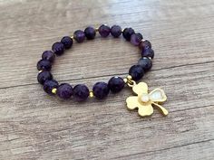 Amethyst Stretch Bracelet Ultra Violet Bracelet Clover