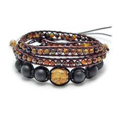 Pack Bracelets 2 Tours Oeil de Tigre & Shamballa Terra