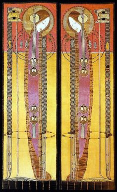 Embroidered panels by Margaret Macdonald, 1902. Linen with silk appliqué and bead decoration, 177 x 41 cm | Glasgow School of Art Archives & Collections