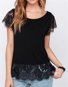 Black Lave Trimmed Blouse
