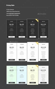 Invoicera Pricing Table Pages Template  Price Tables