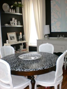 How to decoupage a table with fabric.  Scroll way down to find tutorial on fabric decoupage...