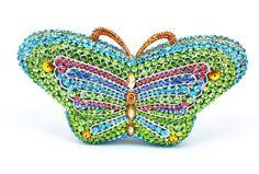 Monte Carlo Lady, Green Butterfly, Swarovski Crystal Clutch Bag, Ref: 013