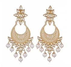 Chand Bali Filigree Earrings with shell pearls and crystals.