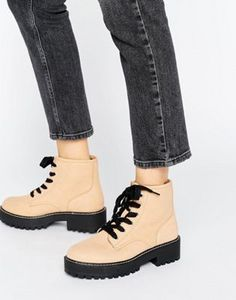 Browse online for the newest Pull&Bear Chunky Lace Up Work Boots styles. Shop easier with ASOS' multiple payments and return options (Ts&Cs apply). Latest Shoe Trends, Latest Shoes, New Shoes, Shoes Heels, Fila Shoes Womens, Yellow Shoes Womens, Chunky Shoes, Shoe Sale, Timberland Boots