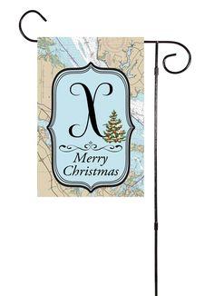 Merry Christmas - Initial Nautical Garden Flag