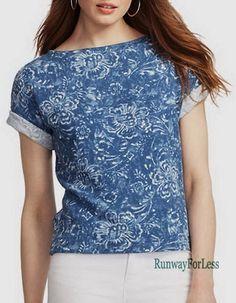 New $79 LAUREN JEANS RALPH Womens Medium Floral Flower Printed Terry Top Tee #RalphLauren #KnitTop #Casual