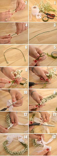 Diy Flower Crown, Flower Crown Wedding, Bridal Flowers, Floral Crown, Diy Bow, Diy Hair Accessories, Floral Hair, Flower Crafts, Flower Making