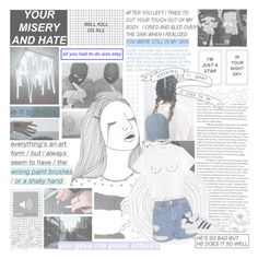 """""""And I'm trying to find my peace of mind Behind these two white highway lines When the city goes silent The ringing in my ears gets violent"""" by holopunkk96 ❤ liked on Polyvore"""