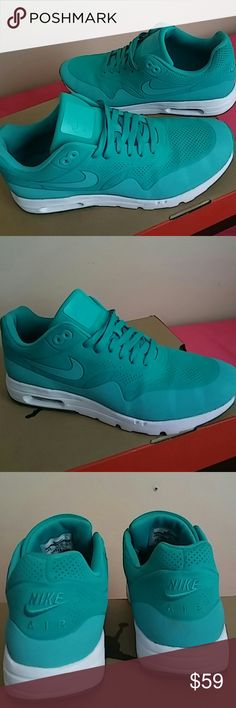Nike Air Max 1 Ultra Moire RN Shoes SIZE 9.5 Women Purchased this for $110 and used about 8 times. Shoes is in fabulous shape and rated 8.9/10...Color is kinda teal green. Nike Shoes Sneakers